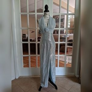 Baby blue formal halter gown sequin size 5/6